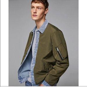 Zara man contrast denim lined jacket